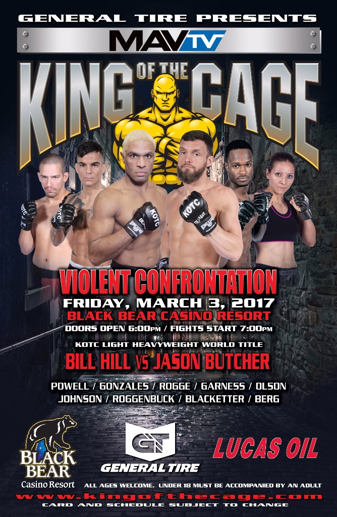 """King of the Cage Returns to Black Bear Casino Resort on March 3 for """"VIOLENT CONFRONTATION"""""""