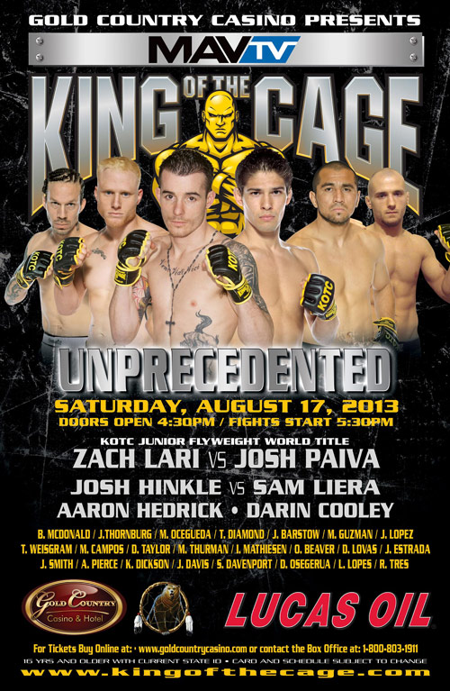 """King of the Cage Presents """"Unprecedented"""" at Gold Country Casino"""