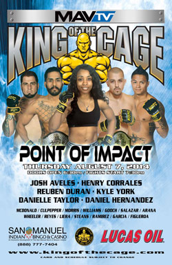 "King of the Cage Returns to San Manuel Indian Bingo & Casino August 7th for ""Point of Impact"""
