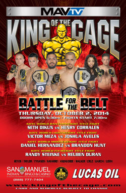 "King of the Cage Returns to San Manuel Indian Bingo & Casino October 2nd for ""Battle for the Belt"""