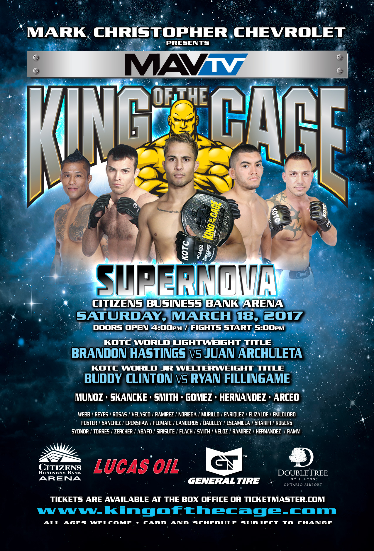 """King of the Cage Returns to Citizens Business Bank Arena on March 18 for """"SUPERNOVA"""""""