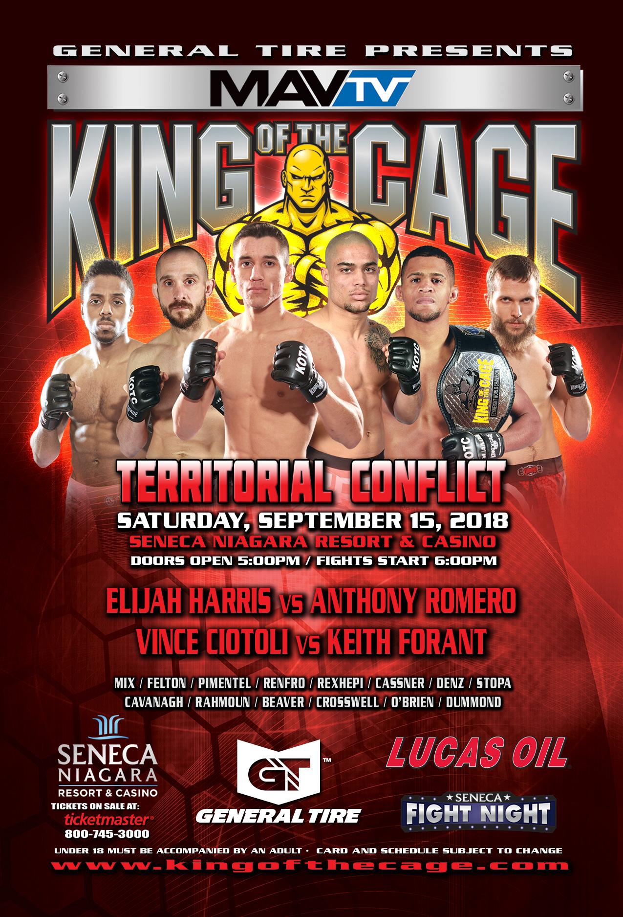 king of the cage returns to seneca niagara resort casino on september 15 for territorial conflict