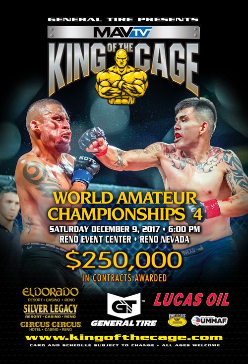 King of the Cage Announces Results for the WORLD AMATEUR CHAMPIONSHIPS 4 at the Reno Events Center in Reno, Nevada
