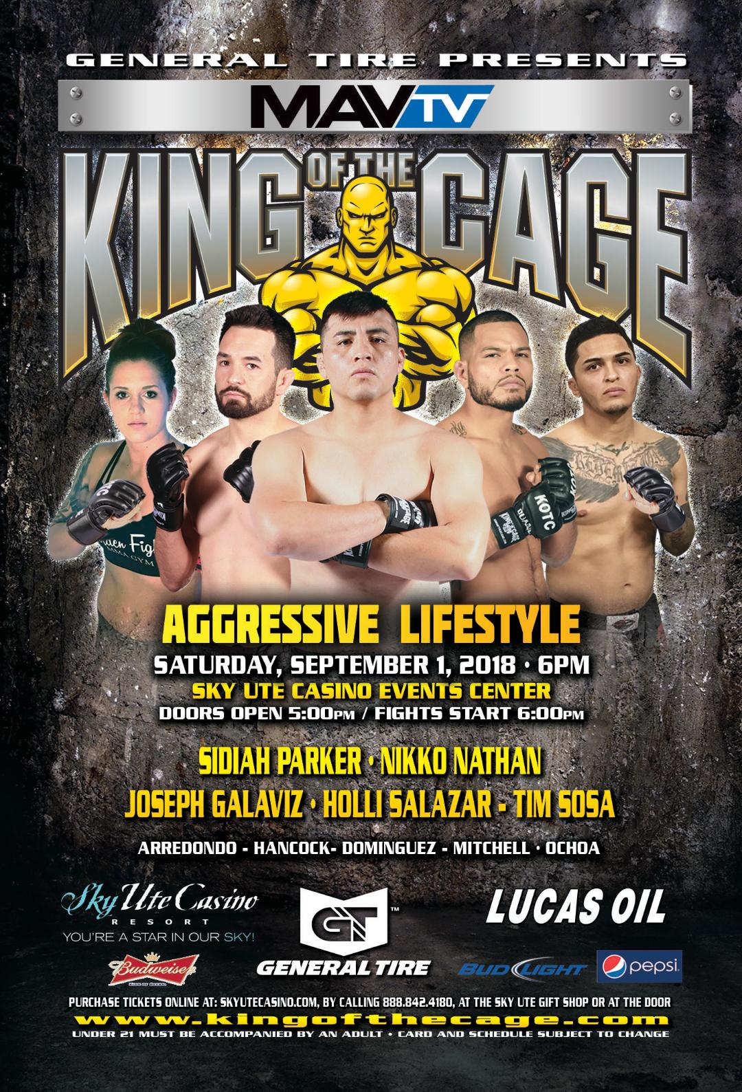 "King of the Cage Returns to Sky Ute Casino on September 1 for ""AGGRESSIVE LIFESTYLE"""