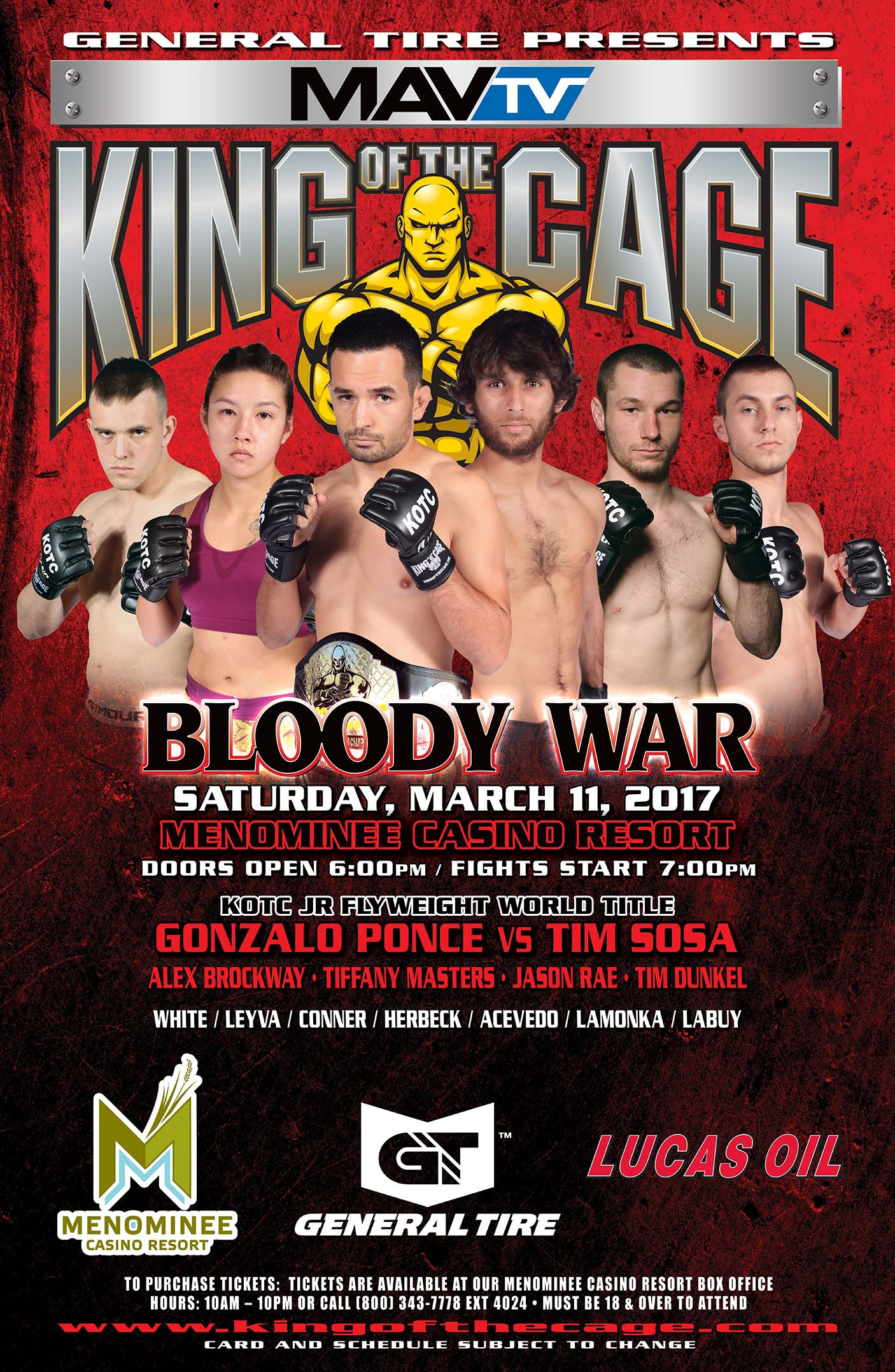 King Of The Cage Returns To Menominee Casino Resort On March