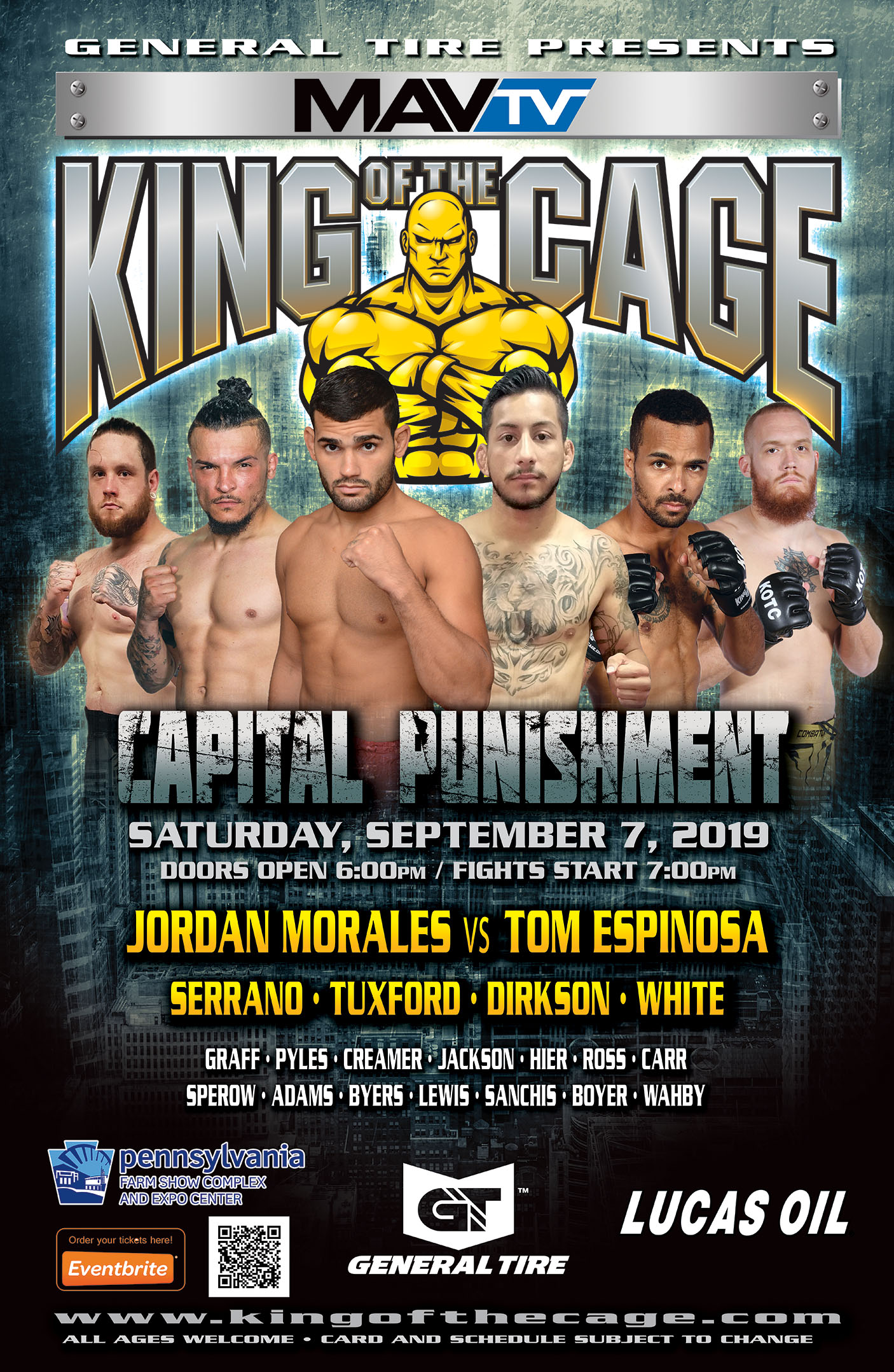"King of the Cage Debuts at Pennsylvania Farm Show Complex & Expo Center on September 7 for ""CAPITAL PUNISHMENT"""
