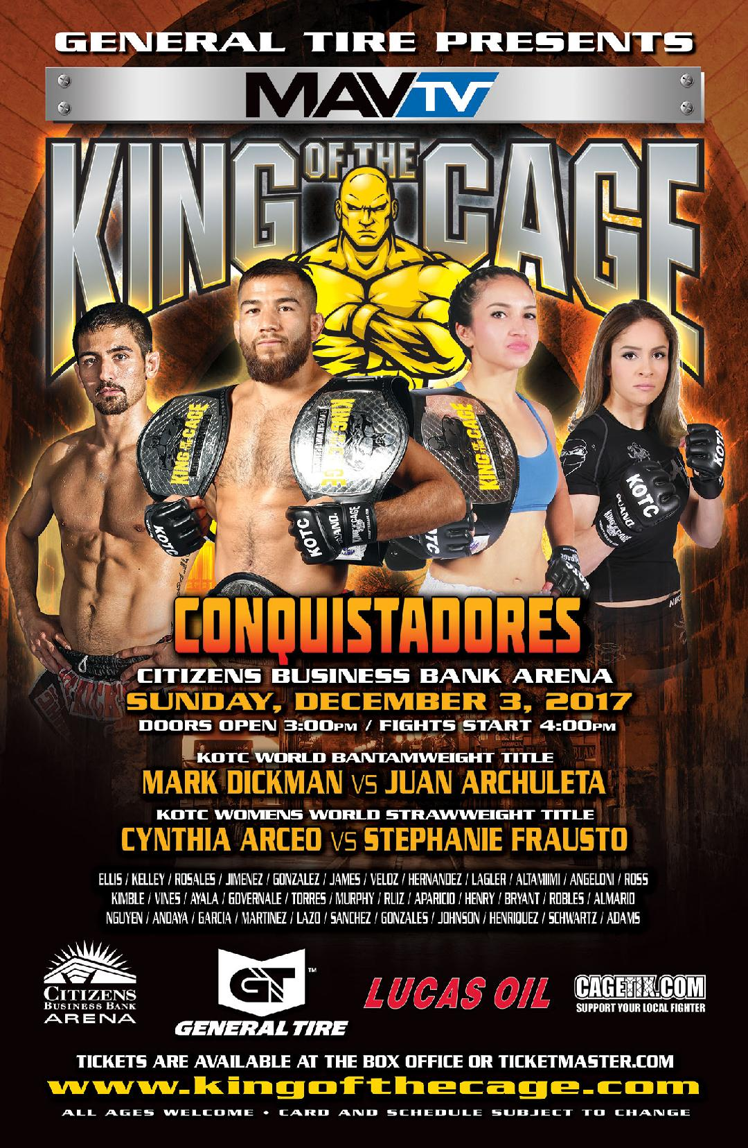 """King of the Cage Announces Main Fight Card for Citizens Business Bank Arena on December 3 for """"CONQUISTADORS"""""""