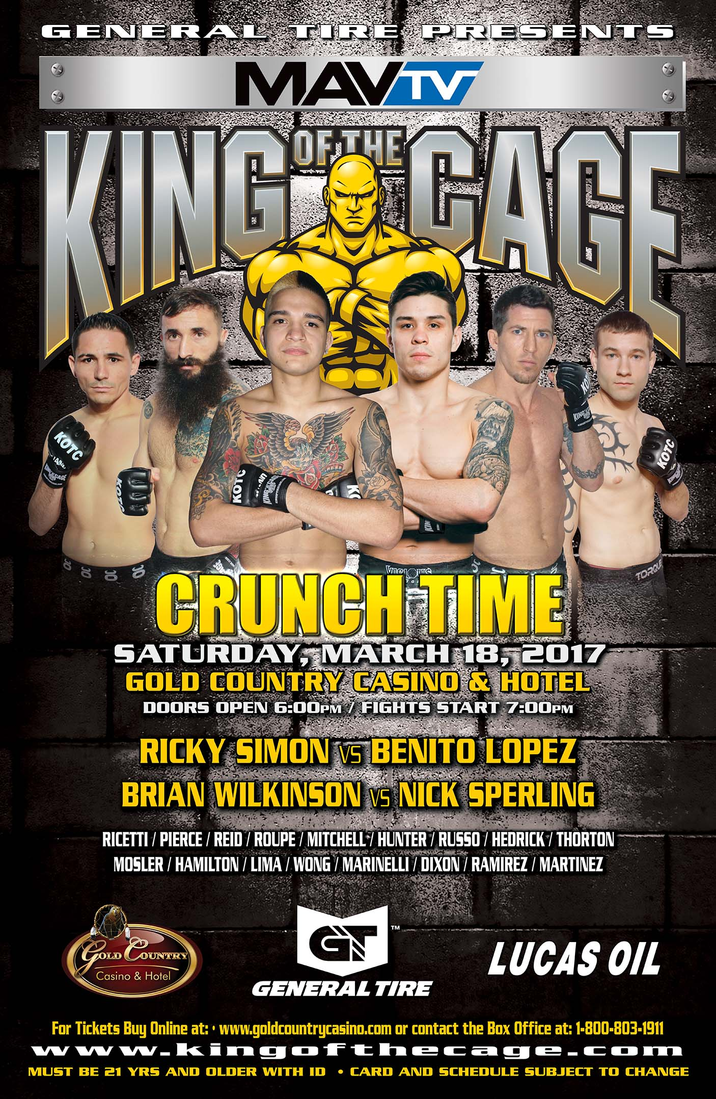 """King of the Cage Returns to the Gold Country Casino & Hotel on March 18 for """"CRUNCH TIME"""""""