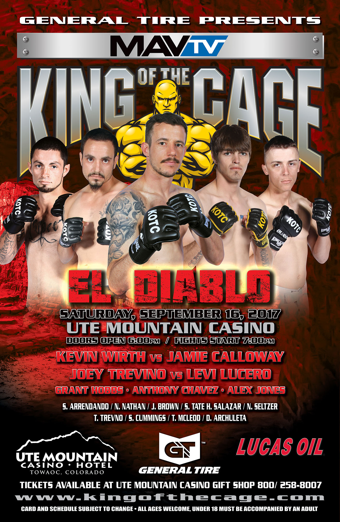 """King of the Cage Returns to the Ute Mountain Casino, Hotel & Resort on September 16 for """"EL DIABLO"""""""