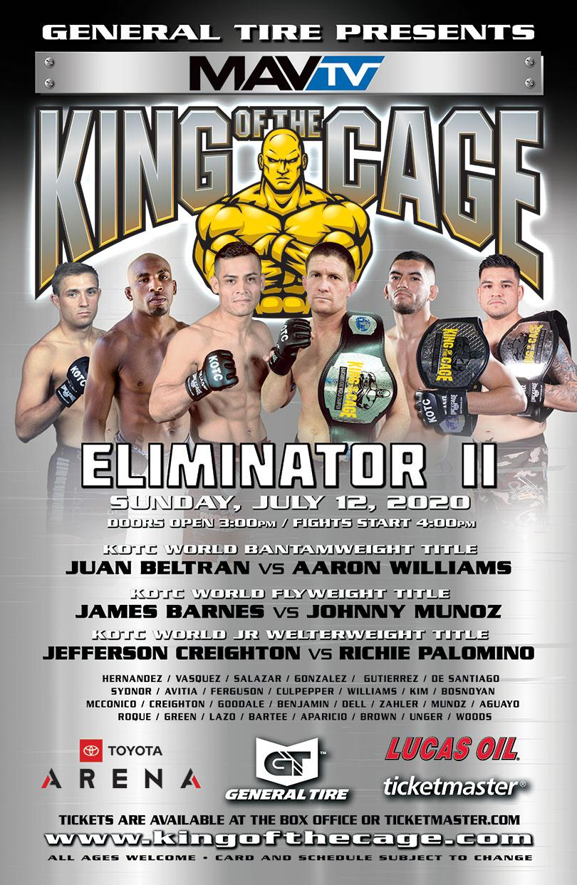 "BREAKING NEWS: KOTC ""Eliminator II"" at Toyota Arena Rescheduled from 4/5 to 7/12"