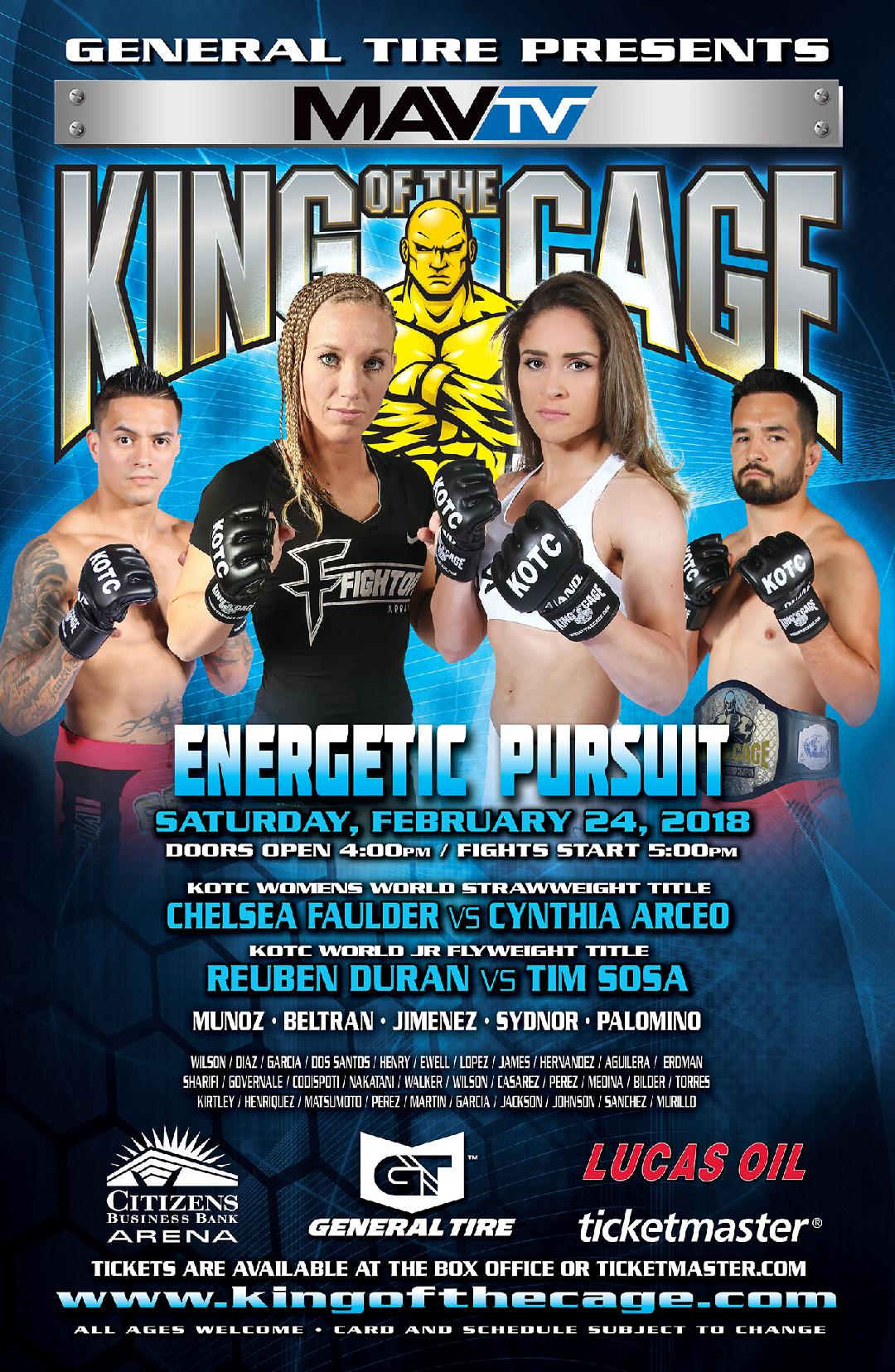 """King of the Cage Returns to Citizens Business Bank Arena on February 24 for """"ENERGETIC PURSUIT"""""""