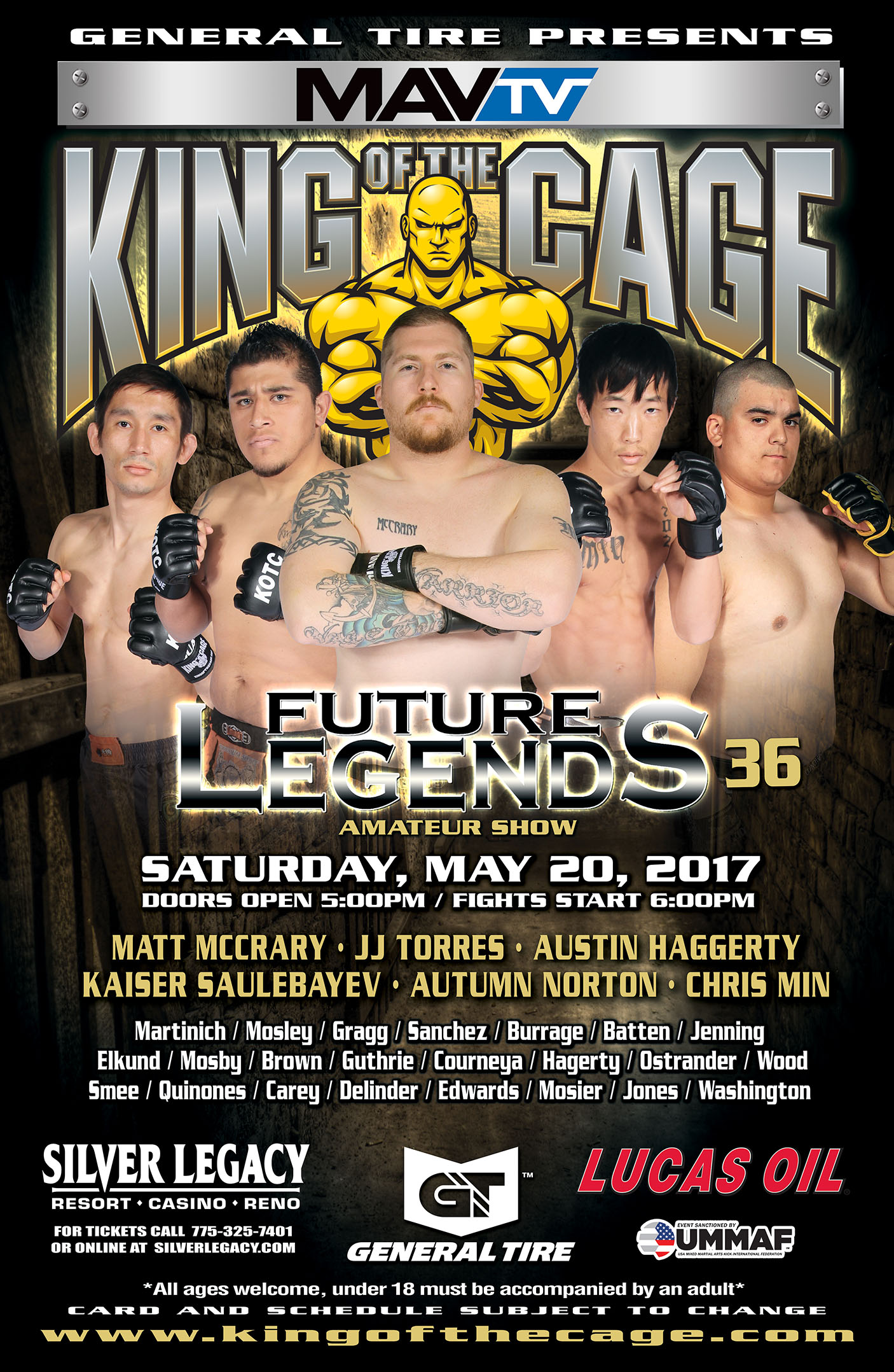 "King of the Cage Returns to Silver Legacy Resort Casino Reno on May 20th for ""FUTURE LEGENDS 36"""