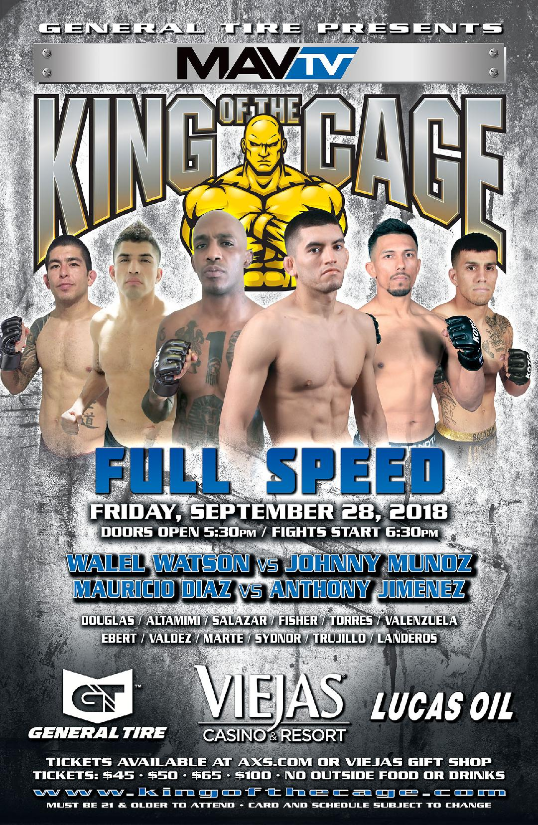 "King of the Cage Returns to Viejas Casino & Resort on September 28 for ""FULL SPEED"""