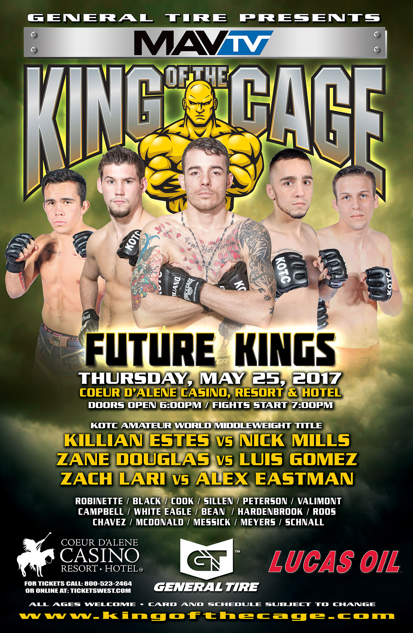 "King of the Cage Returns to Coeur D'Alene Casino Resort on May 25 for ""FUTURE KINGS"""