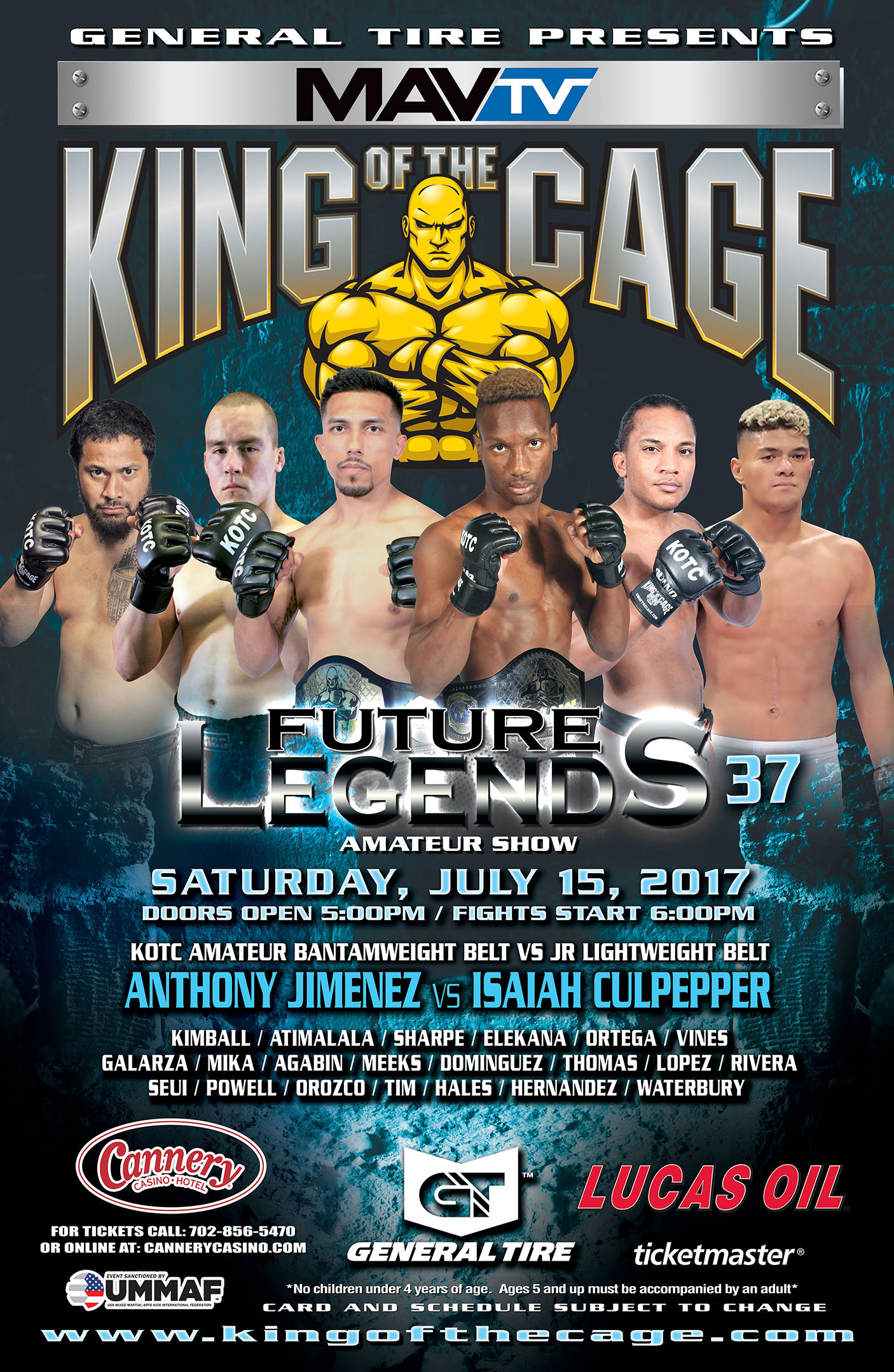 "King of the Cage Returns to Cannery Casino Hotel on July 15 for ""FUTURE LEGENDS 37"""