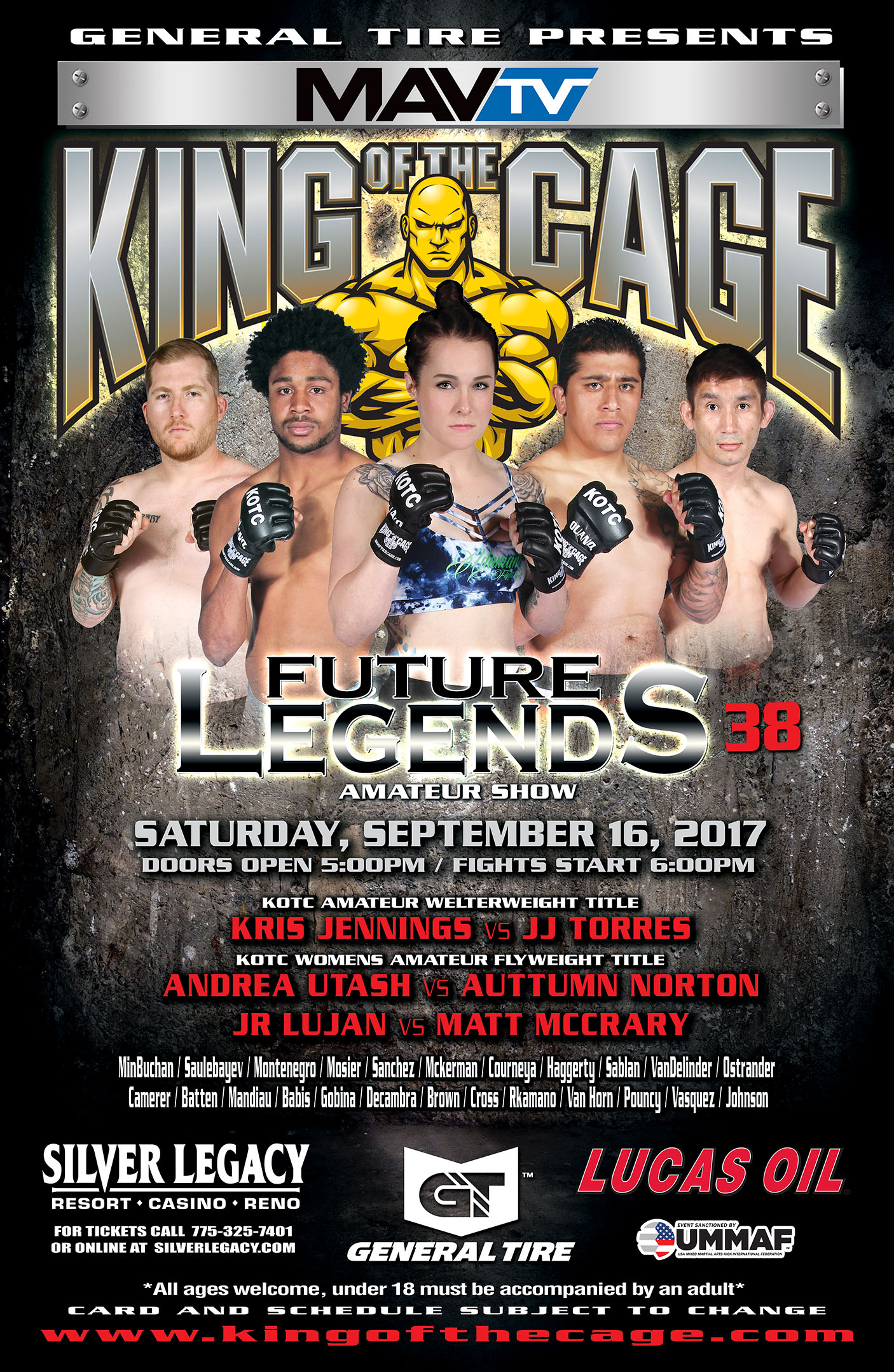 """King of the Cage Returns to Silver Legacy Resort Casino Reno on September 16th for """"FUTURE LEGENDS 38"""""""