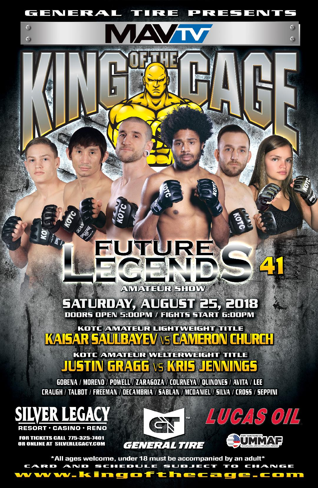 """King of the Cage Returns to Silver Legacy Resort Casino Reno on August 25 for """"FUTURE LEGENDS 41"""""""