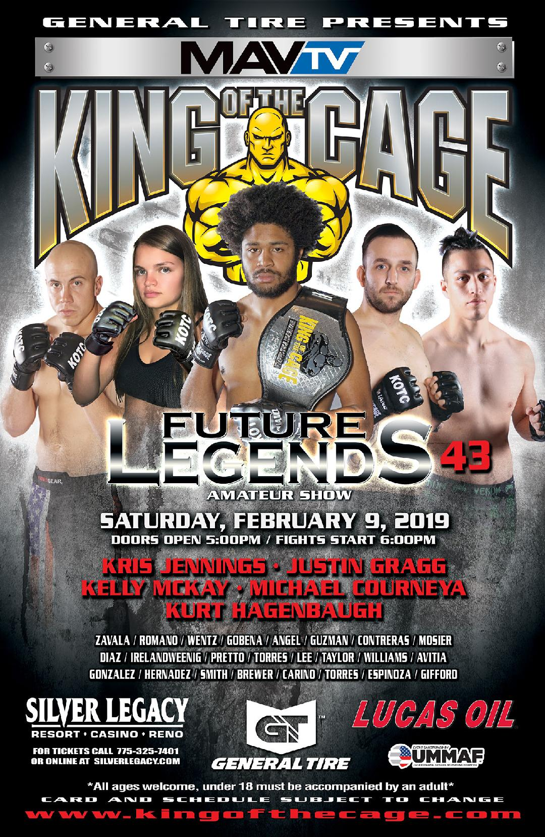 "King of the Cage Returns to Silver Legacy Resort Casino Reno on February 9 for ""FUTURE LEGENDS 43"""