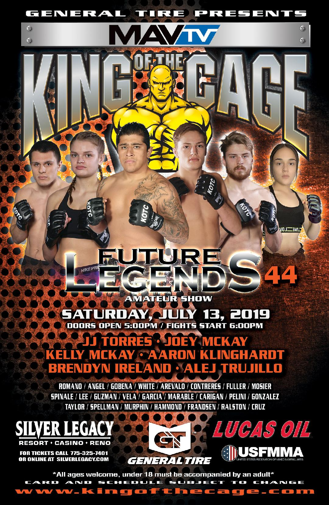 "King of the Cage Returns to Silver Legacy Resort Casino Reno on July 13 for ""FUTURE LEGENDS 44"""