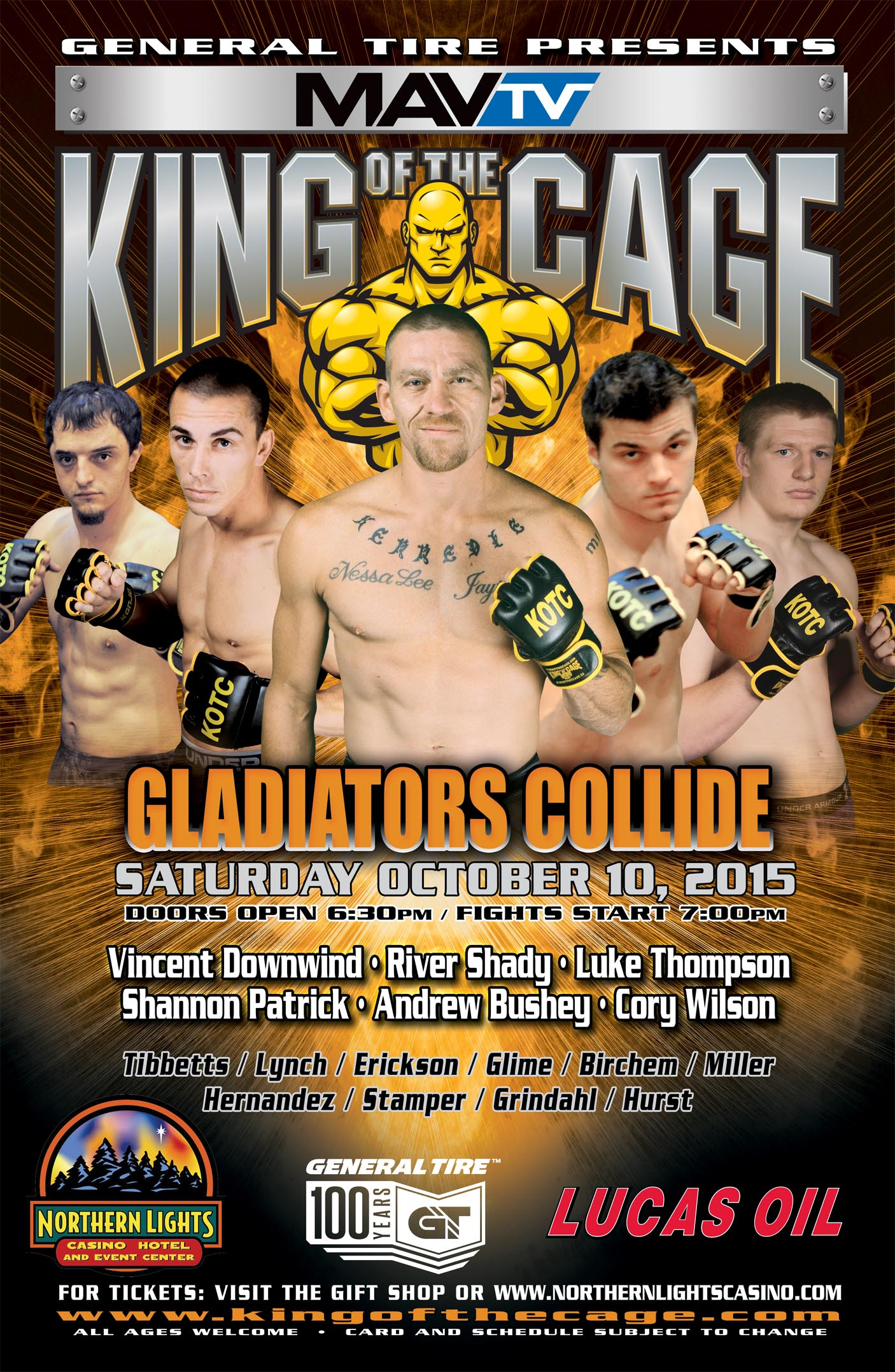 King Of The Cage Returns To Northern Lights Casino On October 10 For  U201cGLADIATORS COLLIDEu201d
