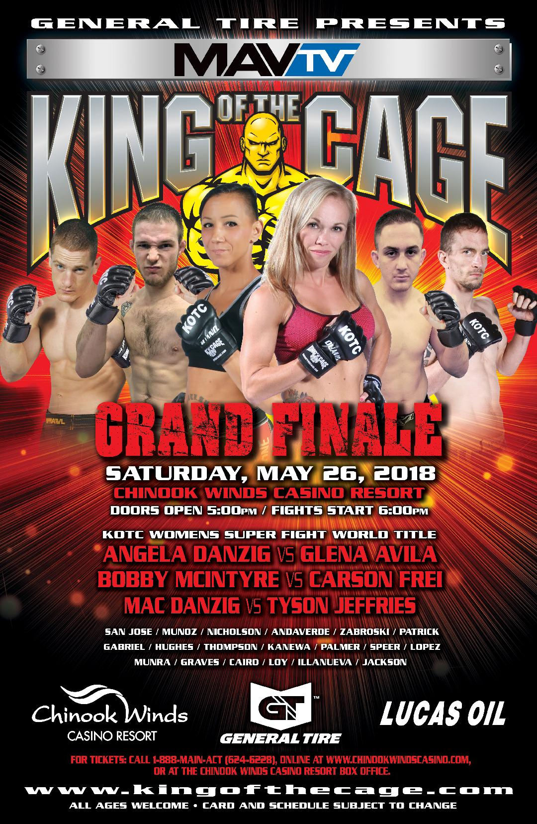 "King of the Cage Announces Fight Card for Chinook Winds Casino Resort on May 26 ""GRAND FINALE"""