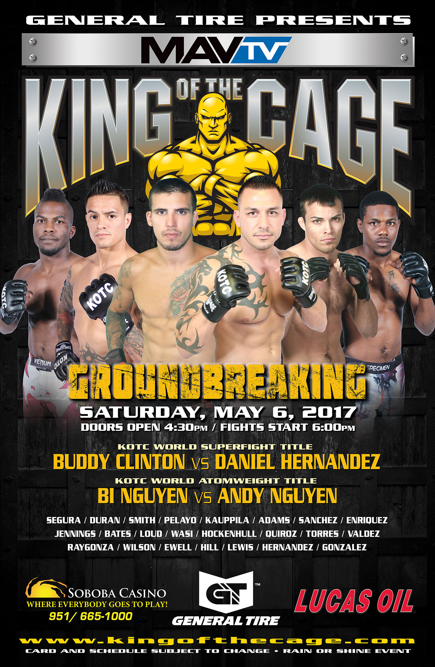 "King of the Cage Returns to Soboba Casino on May 6 for ""GROUNDBREAKING"""