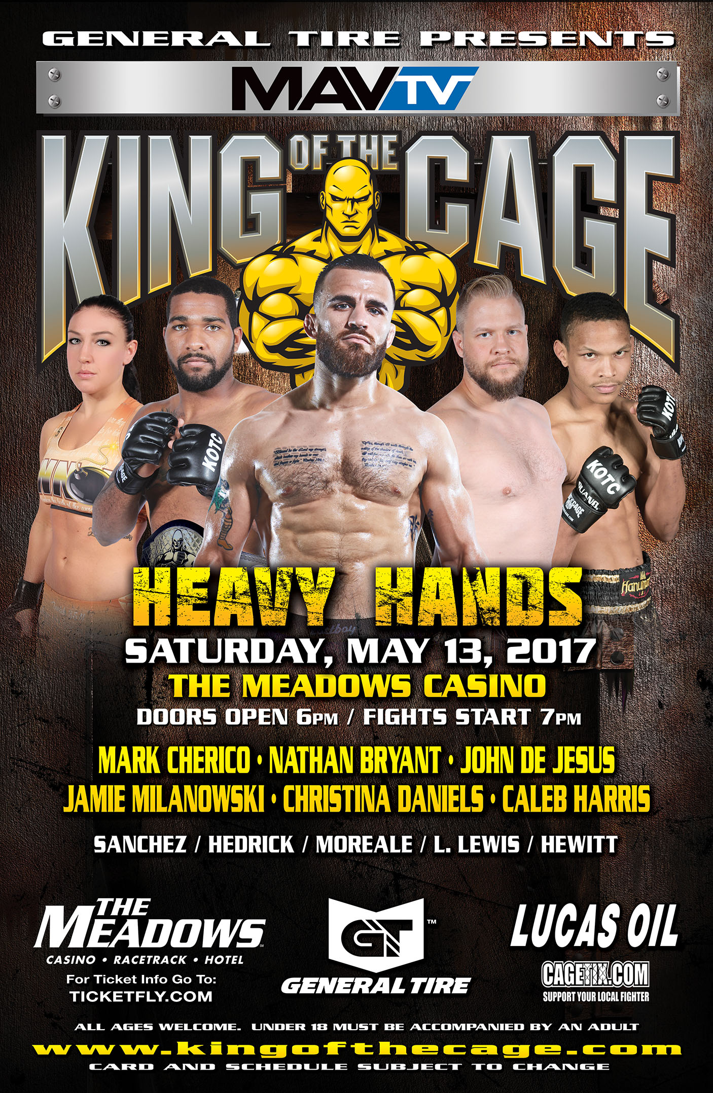"King of the Cage Returns to the Meadows Casino Racetrack Hotel on May 13 for ""HEAVY HANDS"""