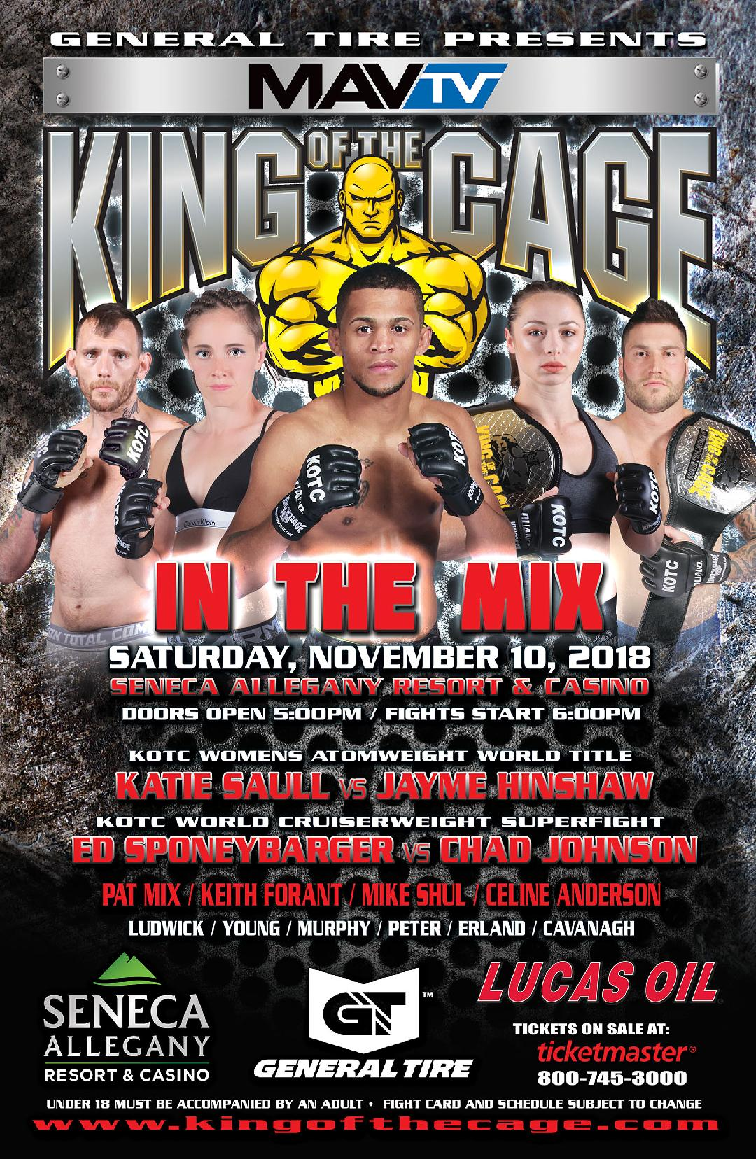"King of the Cage Returns to Seneca Allegany Resort & Casino on November 10 for ""IN THE MIX"""