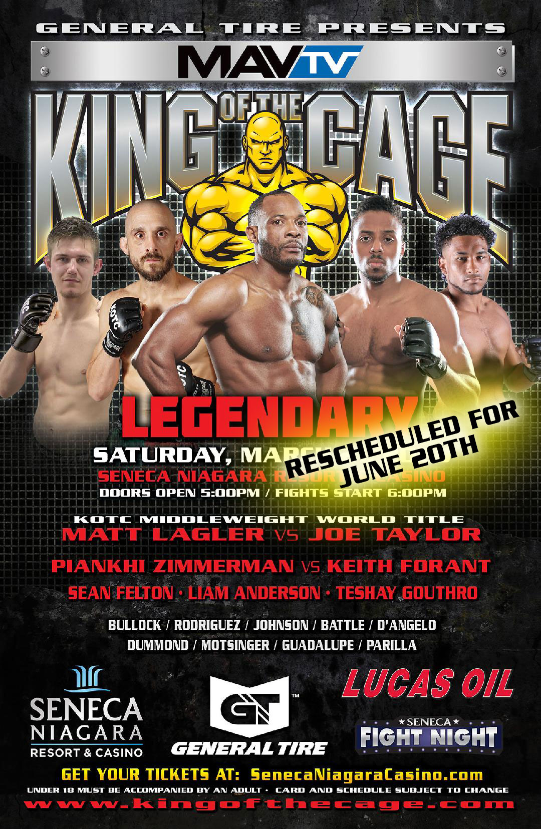 "BREAKING NEWS: KOTC ""Legendary"" at Seneca Niagara Resort & Casino Rescheduled Again, New Date TBD"
