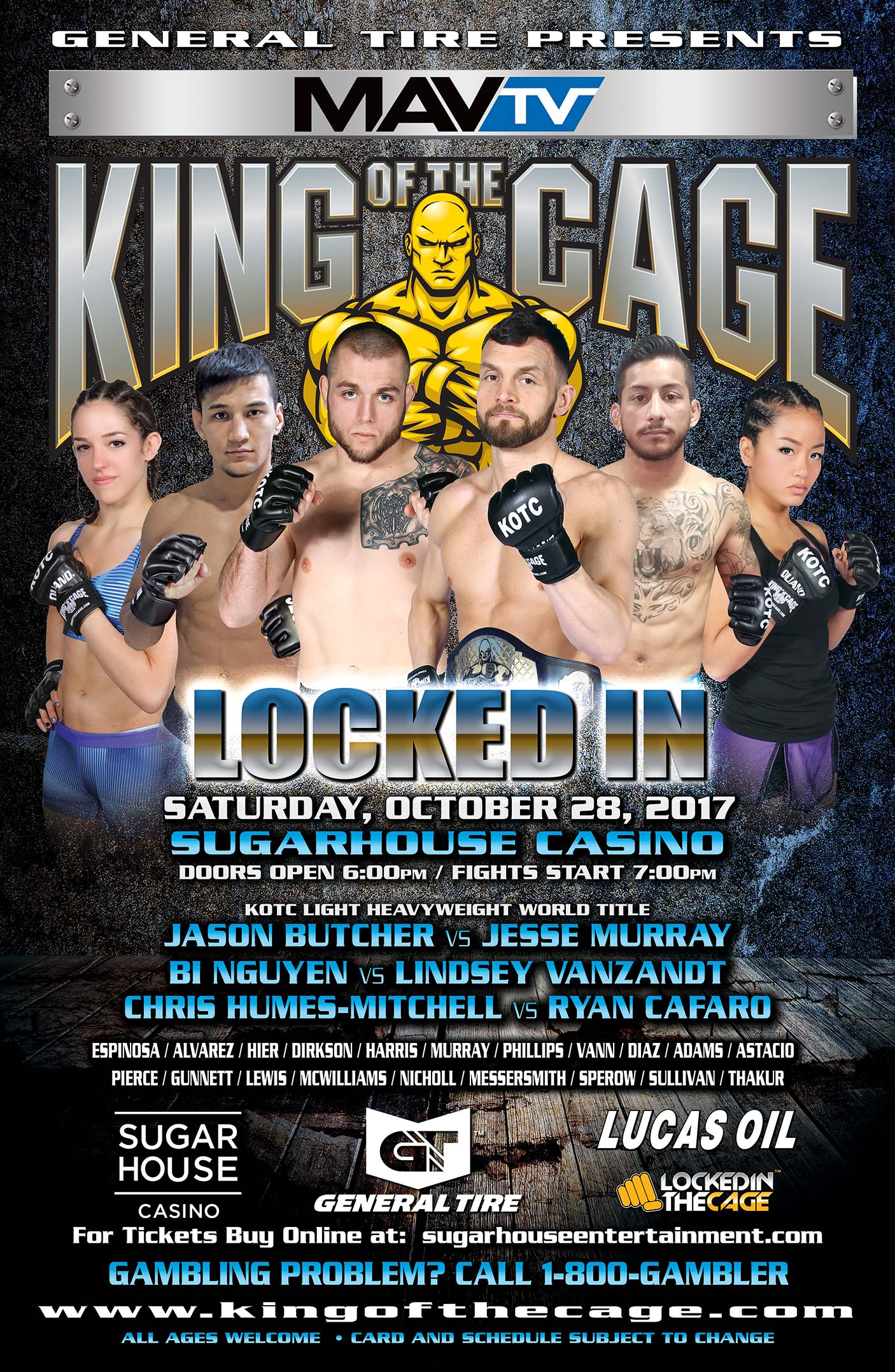 """King of the Cage Announces Fight Card for SugarHouse Casino in Philadelphia October 28 for """"LOCKED IN"""""""