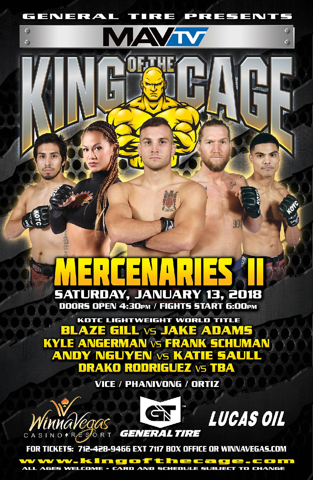 King of the Cage Announces Main Fight Card for WinnaVegas Casino on January 13 for MERCENARIES II