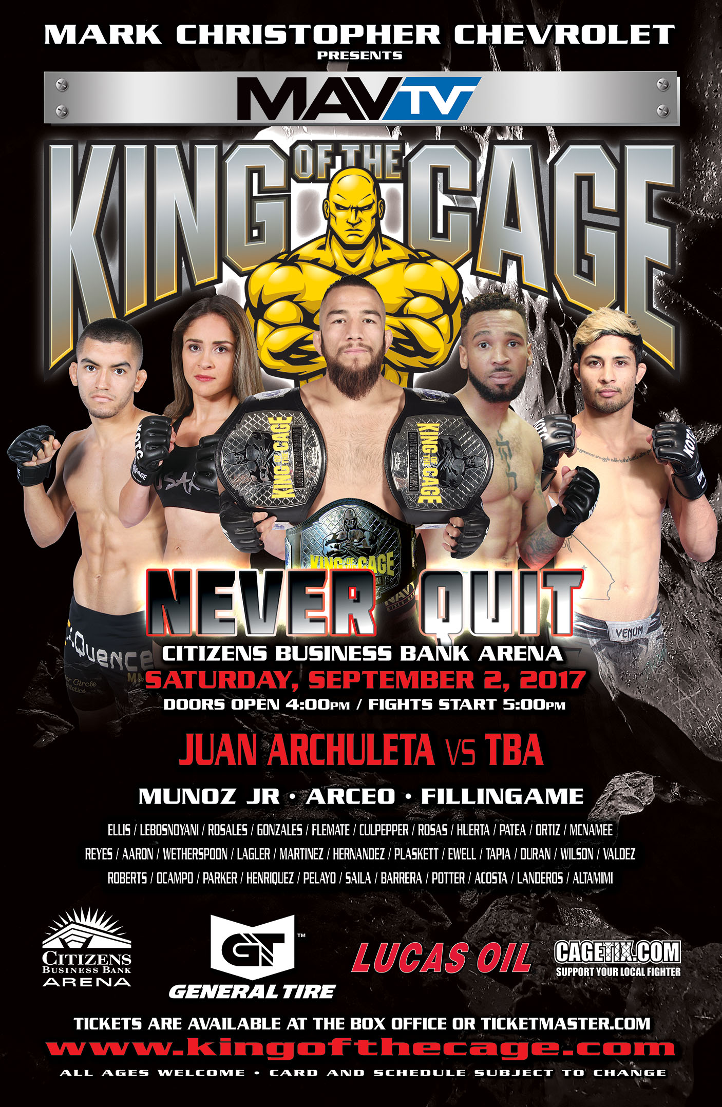 """King of the Cage Returns to Citizens Business Bank Arena on September 2 for """"NEVER QUIT"""""""