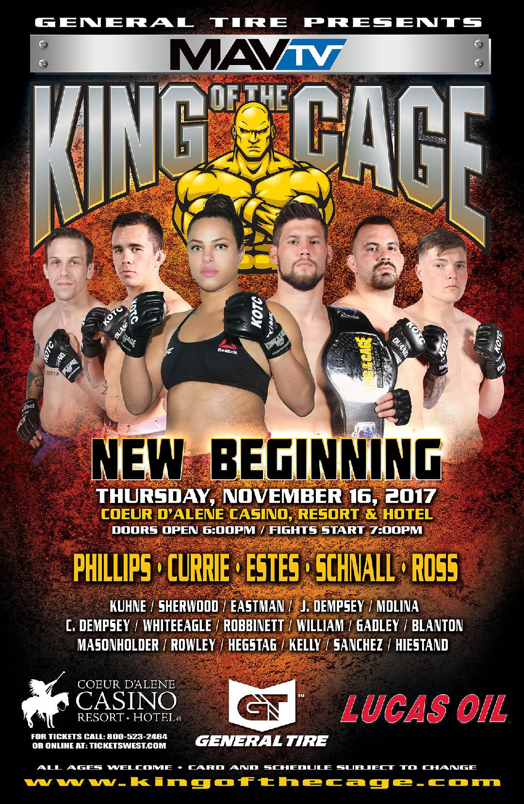 """King of the Cage Announces Main Event for Coeur d'Alene Casino on November 16 for """"NEW BEGINNING"""""""