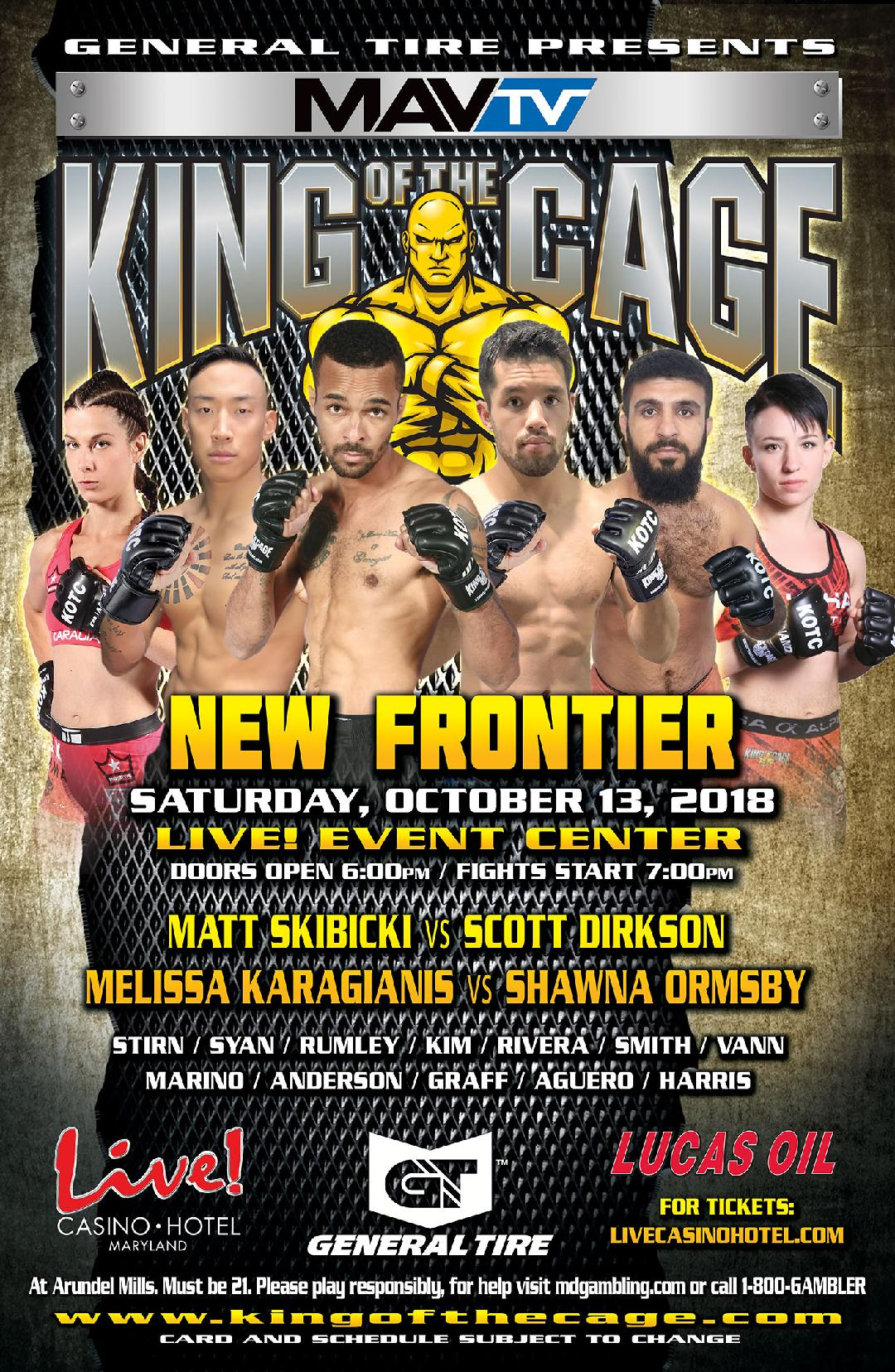 king of the cage debuts at live casino hotel maryland on october 13 for new frontier