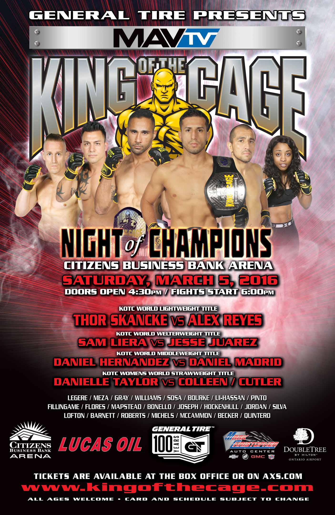 king of the cage returns to citizens business bank arena with a