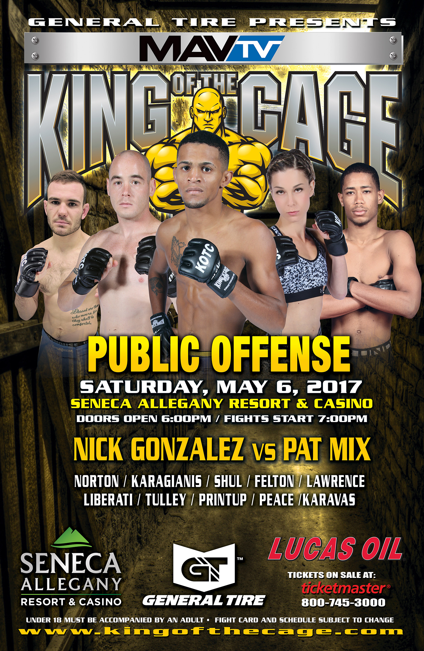 "King of the Cage Debuts at Seneca Allegany Resort & Casino on May 6 for ""PUBLIC OFFENSE"""
