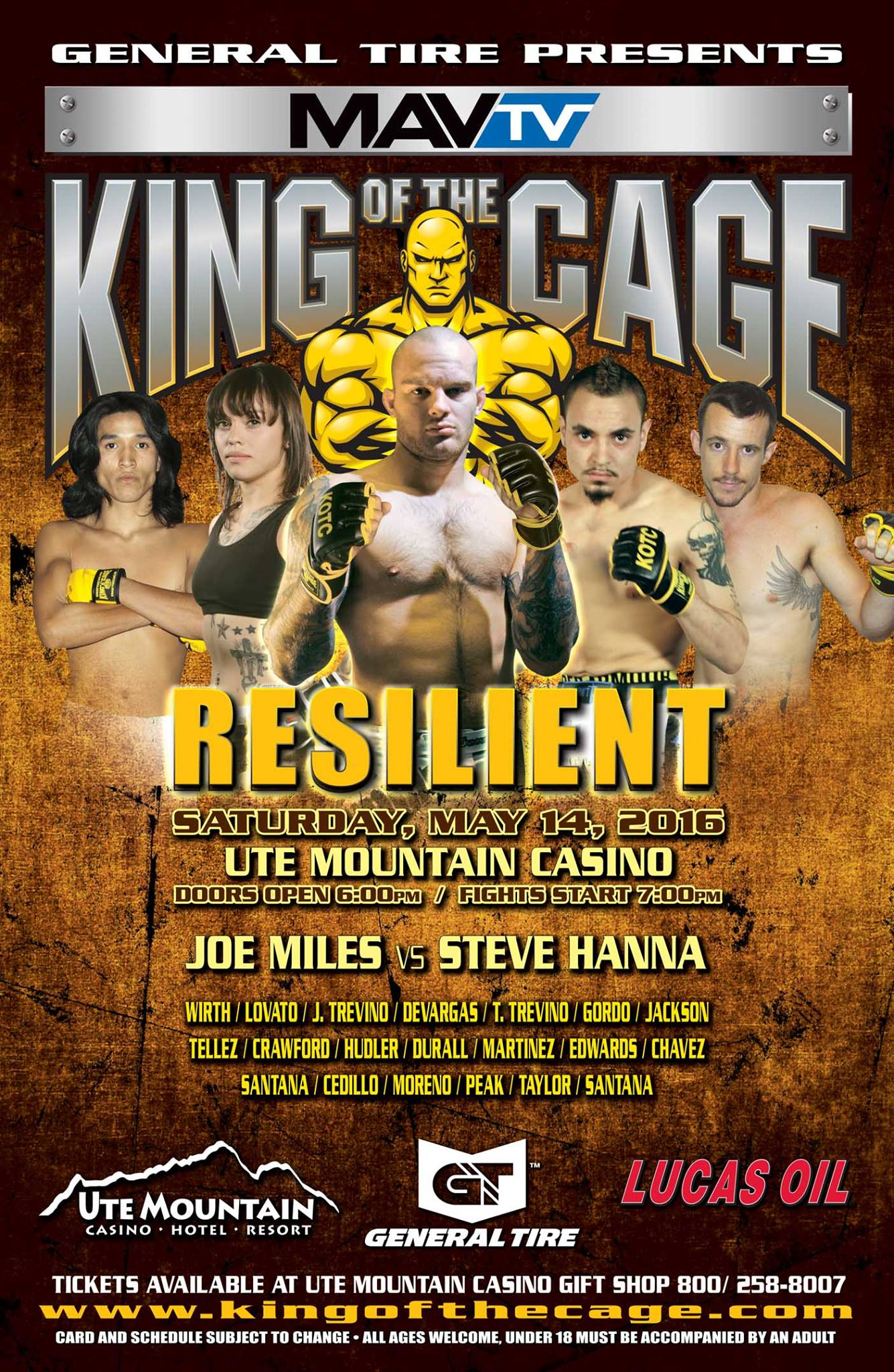king of the cage returns to the ute mountain casino hotel resort on may 14 for resilient