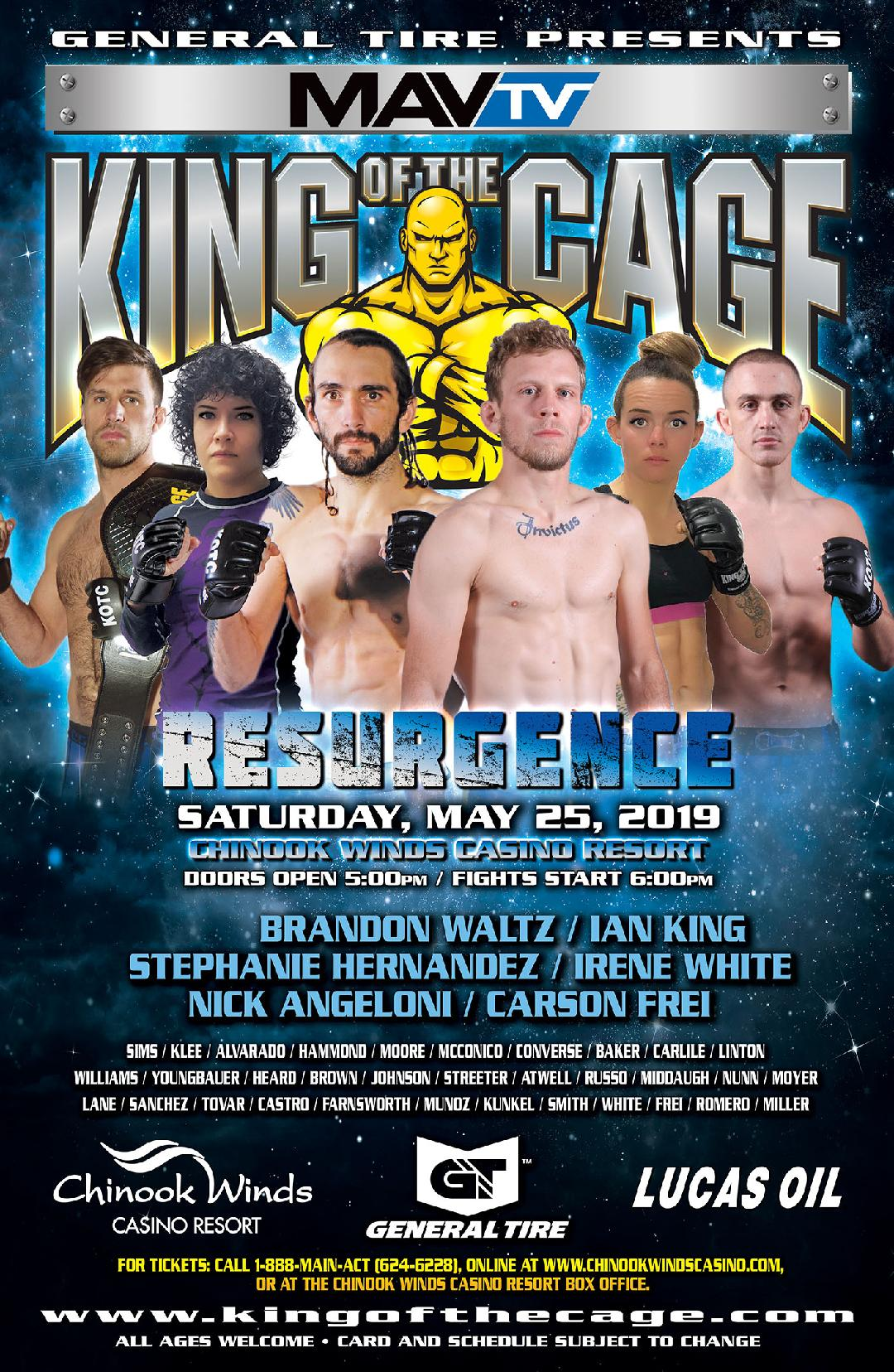 "​ King of the Cage Returns to Chinook Winds Casino Resort on May 25 for ""RESURGENCE"""