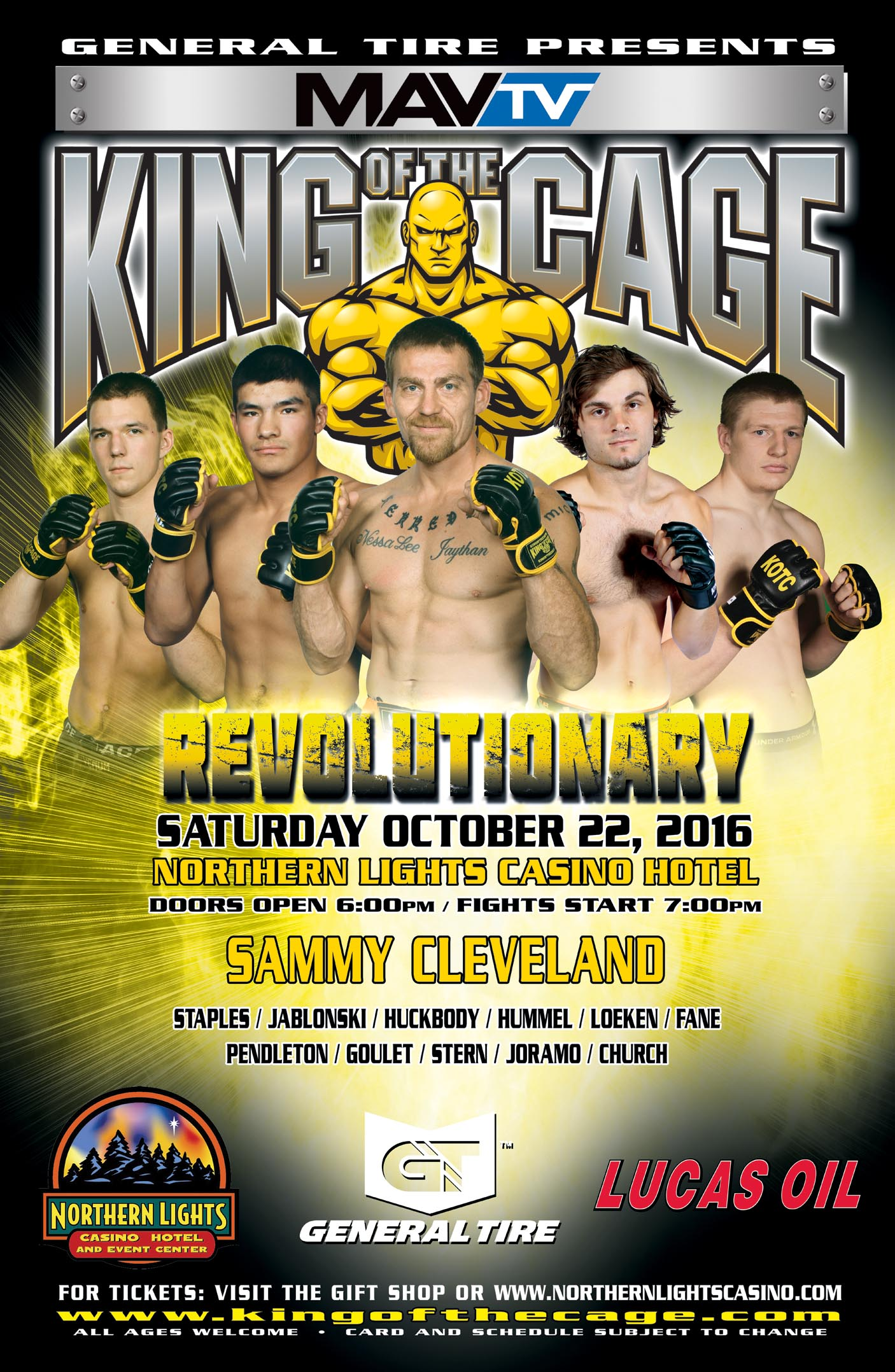 King Of The Cage Returns To Northern Lights Casino On October 22 For  U201cREVOLUTIONARYu201d