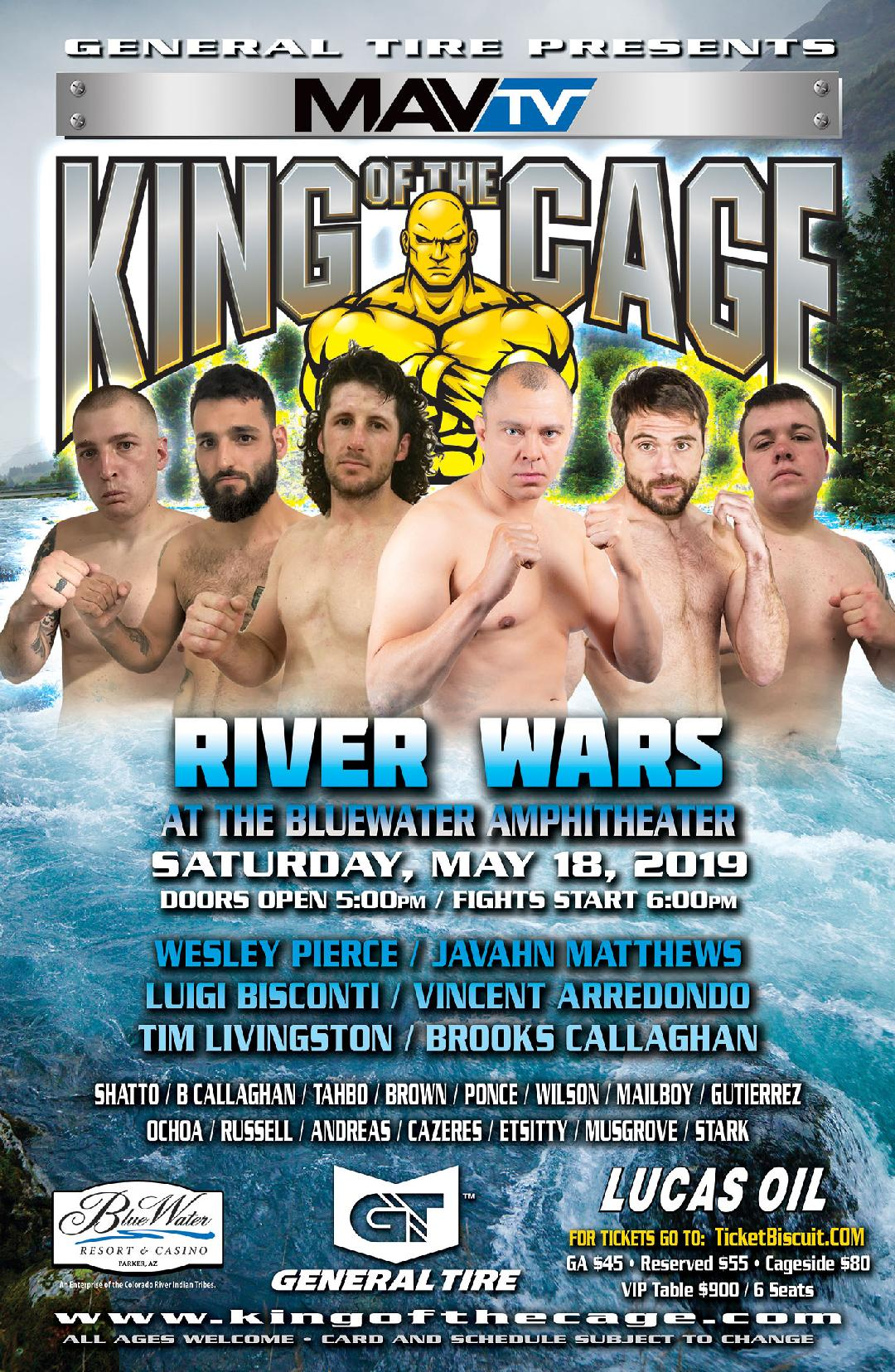 "King of the Cage Debuts at BlueWater Resort & Casino on May 18, 2019 for ""RIVER WARS"""