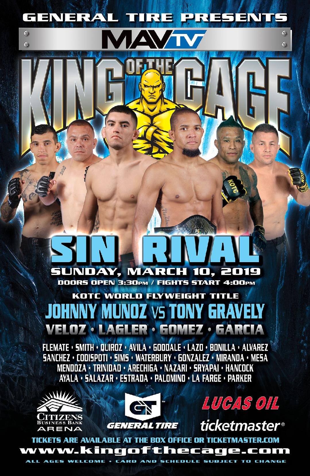 "King of the Cage Returns to Citizens Business Bank Arena on March 10 for ""SIN RIVAL"""