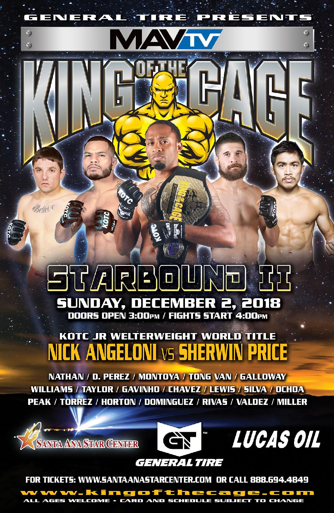 "King of the Cage Returns to Santa Ana Star Center on December 2 for ""STARBOUND II"""