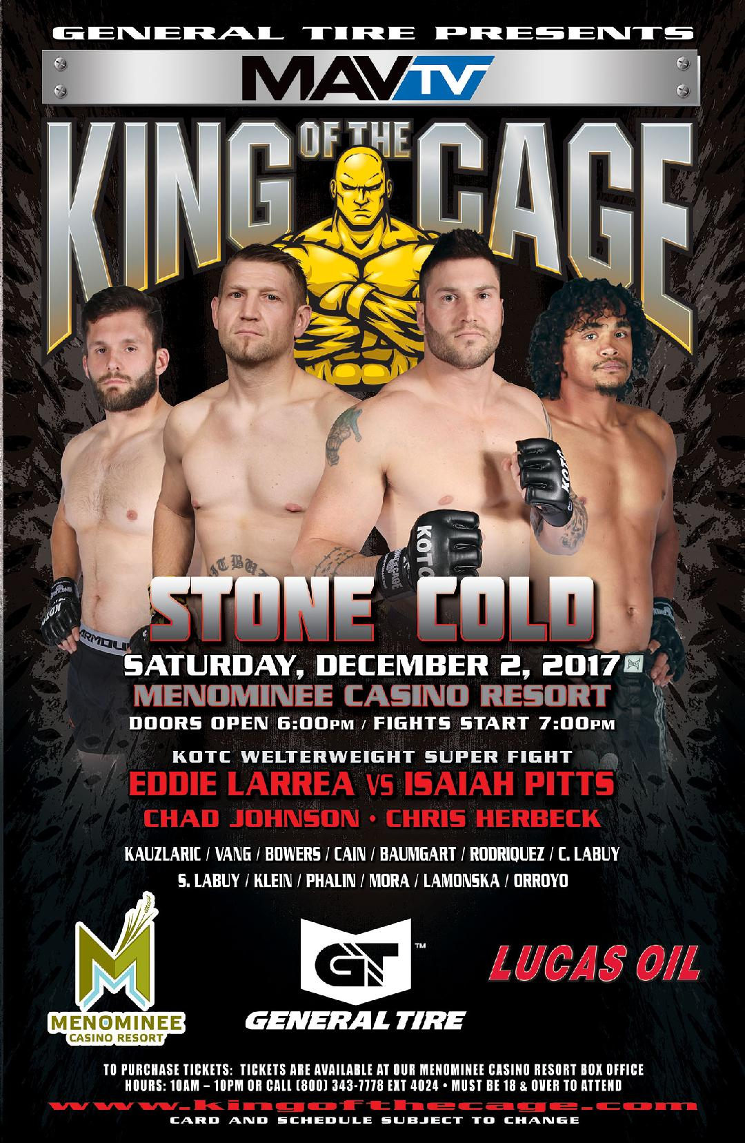 "King of the Cage Returns to Menominee Casino Resort on December 2 for ""STONE COLD"""