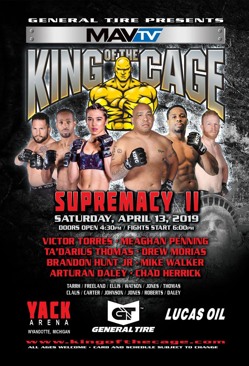 "King of the Cage Returns to Yack Arena on April 13 for ""SUPREMACY II"""