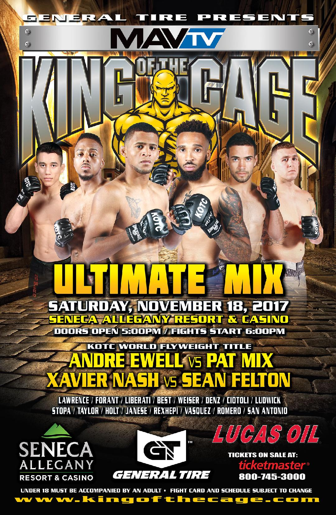 """King of the Cage Announces Fight Card for Seneca Allegany Resort & Casino on November 18 for """"ULTIMATE MIX"""""""