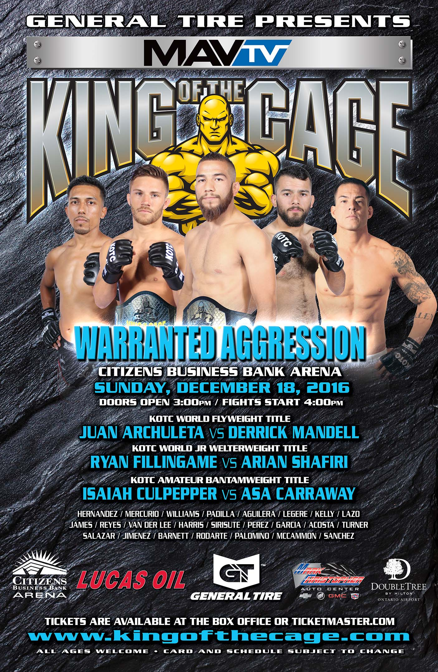 king of the cage returns to citizens business bank arena on
